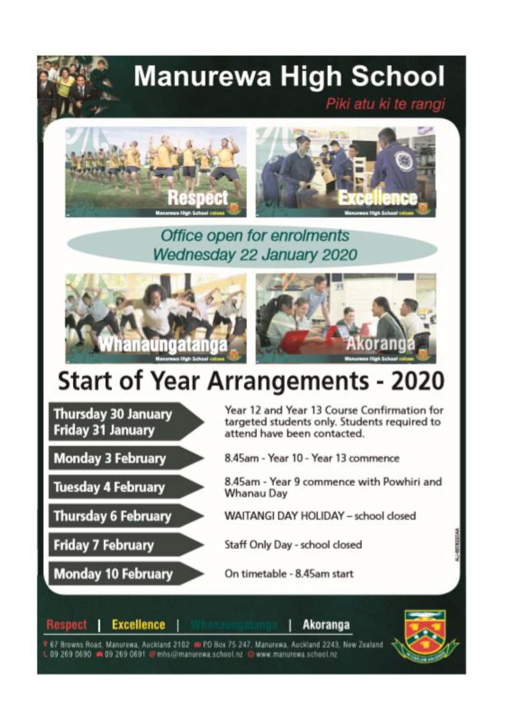 Start Of Year Arrangements 2020